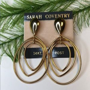 NWT! Vintage Sarah Coventry jewelry earrings 14kt